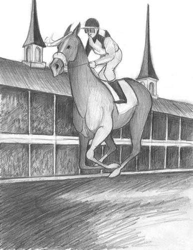 Front Runner limited edition print sketch by P Buckley Moss features a racing horse on the track in front of the visitor stands.