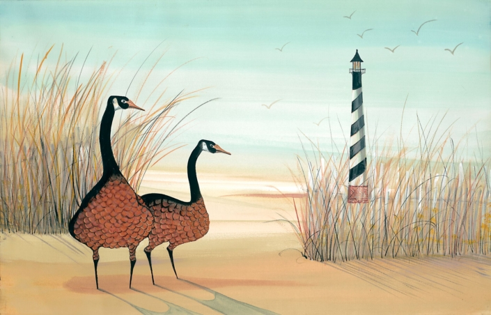 Dawn at the Cape limited editin print by P Buckley Moss features two geese at the beach sheltered by reeds with lighthouse in the background. Colors of rust, tans and golden hues with aqua sky.