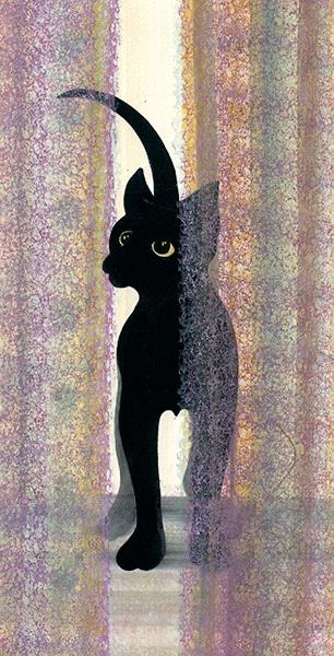 Ebony captures the ability of artist, P. Buckley Moss to create life-like expression in the subjects she paints. Black cat with background of mauves pale yellow, light blues and turquoise.
