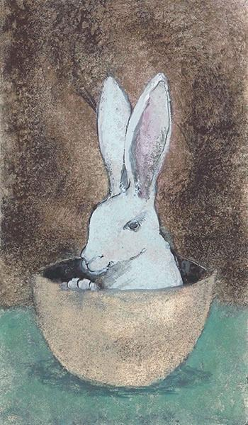 In the Half Shell limited edition glclee art print by P Buckley Moss features a white rabbit sitting in the half shell of an egg. The humor of P Buckley Moss is contagious!