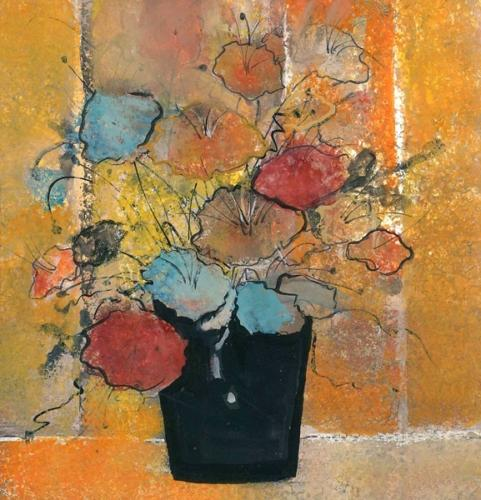 Grandma's Flowers limited edition print by Buckley Moss features modern flowers in a bold black vase with colorful flowers of blue, mauve and tangerine with an orange yellow and tan background.