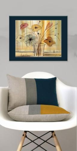 Flower art by P Buckley Moss features and artistic way of bringing gardening inside to enjoy. Golden colors with the addition of rust, rose, blues and soft yellows.