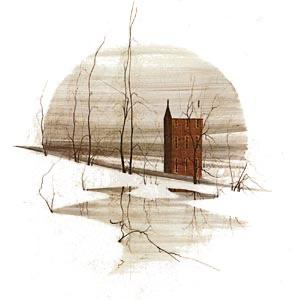 Hail the Day Solace limited edition print features a peaceful landscape with frozen snow and pond in the area of a tall iconic P Buckley Moss brick building of rust. Background colors are white with tans and soft earth tones.