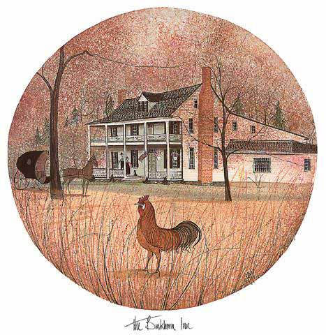 The Buckhorn Inn limited edition print is an artist proof from the P Buckley Moss personal collection. Colors are rust, cream and earth tones with white for the building. Historic Buckhorn Inn in Virginia.