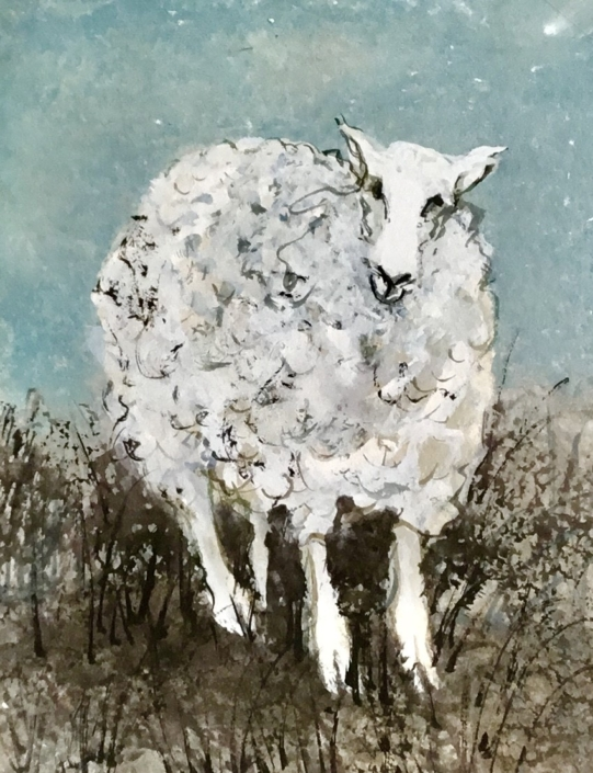 Lamb original watercolor by artist P Buckley Moss. One of a kind, painted by the artist's own hand and exclusively available at Canada GooseGallery in Waynesville, Ohio. Colors are soft turquoise blended with tan and white in the background with white, grays and tans in the lamb and earth colors in the foreground under the lamb's feet.
