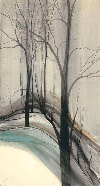 On Misty Mountain by artist P Buckley Moss features a mountain landscape with colors of tan, aqua, grays, earth tones and black accentuating the iconic trees of Moss.
