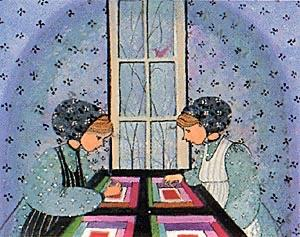 Young Quilters limited edition print by P Buckley Moss features two girls, sisters, friends, sharing time together while quilting. Colors are shades of lavender, blues, aquas with black, red and pink and white throughout the quilt squares.