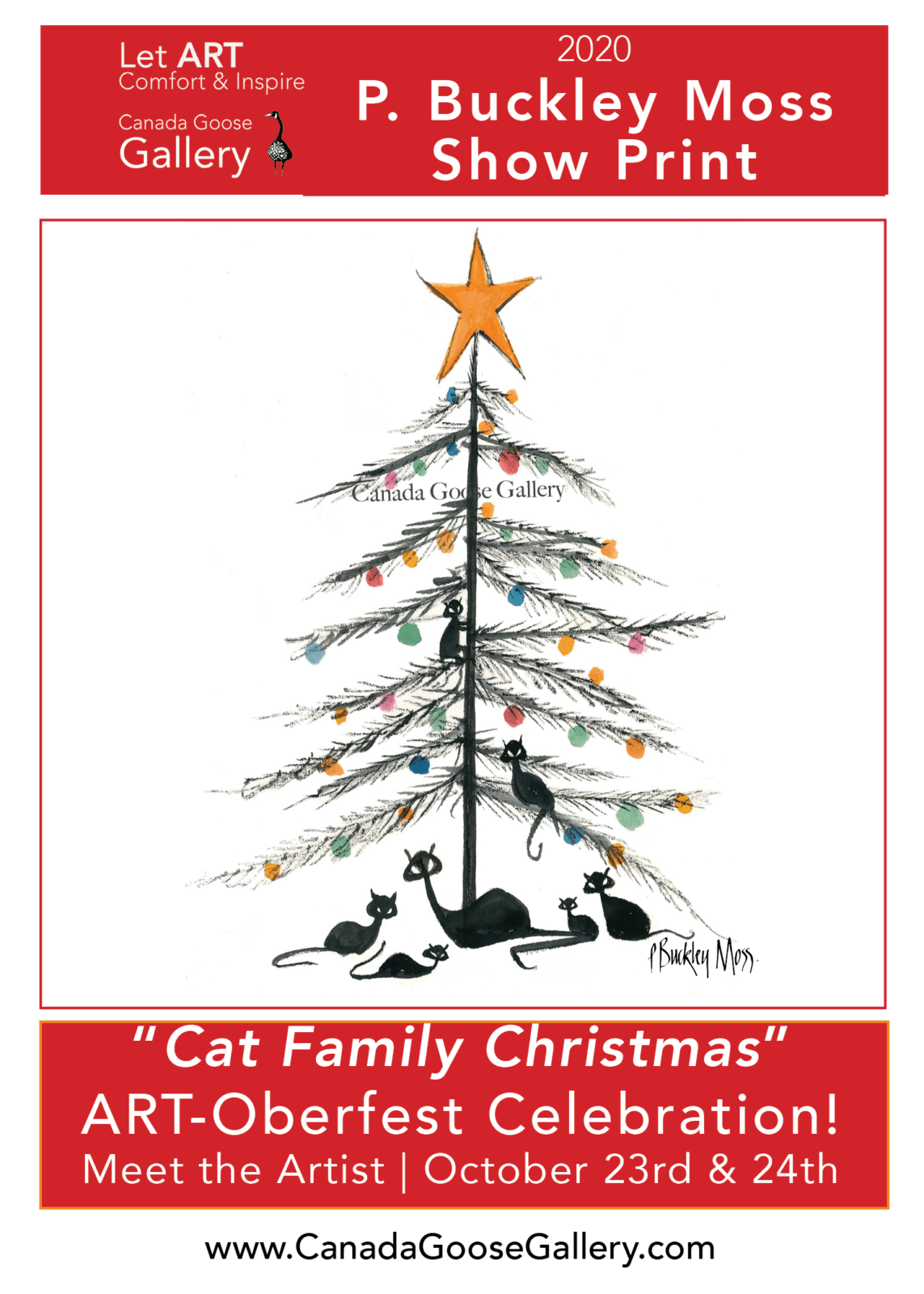 Cat Family Christmas limited edition print available exclusively at Canada Goose Gallery and created for P Buckley Moss in person event October 2020.