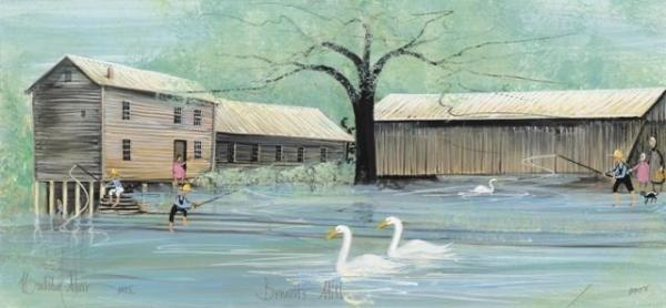 Bennett's Mill by artist P Buckley Moss features the mill and covered bridge in Greenup County, Kentucky. Colors of soft green and blue with dark browns for the tree and tans and gray for the mill buildings. Swans in the water are white.