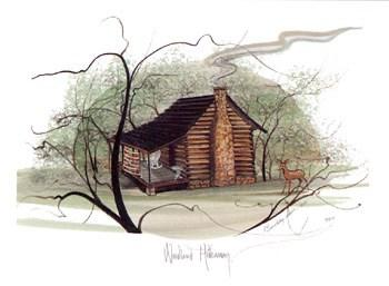 Woodland Hideaway limited edition print by P Buckley Moss features a rustic landscape with a countryside feeling. Black bold iconic Moss trees with a cabin in rust colors and greens throughout the image background.