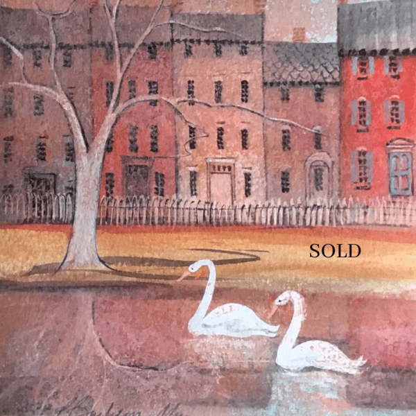 Original Watercolor sold exclusively through Canada Goose Gallery in Waynesville, Ohio. Row houses with colorful foreground and white swans on the water. Pink and rose with shades of mauve and accents of yellow and orange.