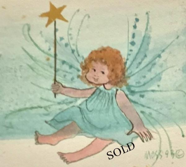 Angel original watercolor by P Buckley Moss sold exclusively through Canada Goose Gallery in Waynesville, Ohio.