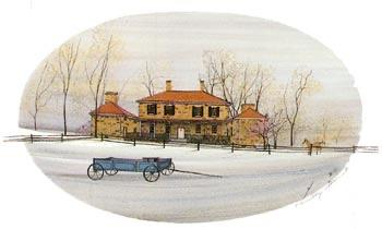 Ohio Homestead by artist P Buckley Moss features Adena, the historic home of Thomas Worthington, governor and senator from Chillicothe, Ohio. Soft colors of sage green, blues, rusts and tans.