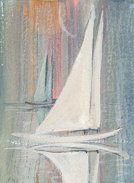Sailing Splendor limited edition print by P Buckley Moss features a white sail sailboat on a light blue sea with a background of shades of soft blue and a dash of pale pink, rose and cream.