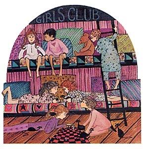 Slumber Party limited edition print by P Buckley Moss features a girl's night out together at a overnight stay. Shades of rose, blue, cream and black.