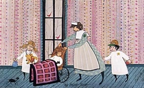 Student Nurse limited edition print by P Buckley Moss shows the tender loving care received by a group of children as they recover from injury and illness. Rich colors of turquoise, mauves and pinks, white and a touch of black.