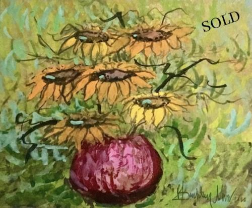 Sunflower in mauve Pot original watercolor by P Buckley Moss sold exclusively at Canada Goose Gallery in Waynesville, Ohio.