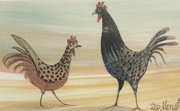 rooster chicken barnyard art print