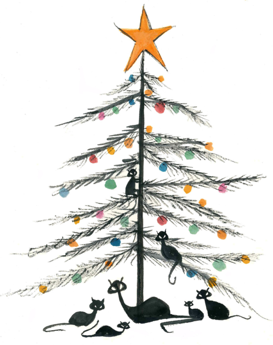 Cat Family Christmas by American artist P Buckley Moss exclusively for the Moss signing event at Canada Goose Gallery in Waynesville, Ohio. Black cats playing around and on a sparsely branched Christmas tree. Gold Star on the top.