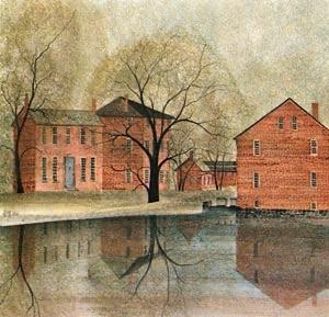 Industrial Revolution limited edition print by P Buckley Moss features a grouping of Colonial buildings with reflection in pools of water. Soft shades of rose with golden background and a touch of blue.