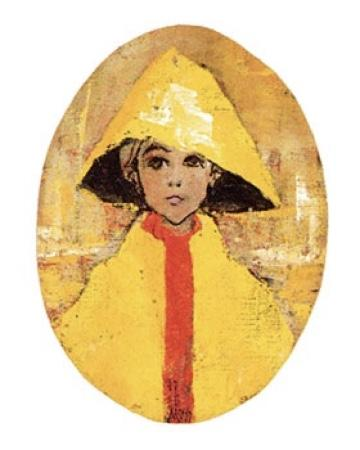 Ready for Rain limited edition artist proof by P Buckley Moss features a small child in a bright yellow raincoat with a red front closing. The art print has the look of an oil painting with a golden background accented with darker shades of gold, cream and white.