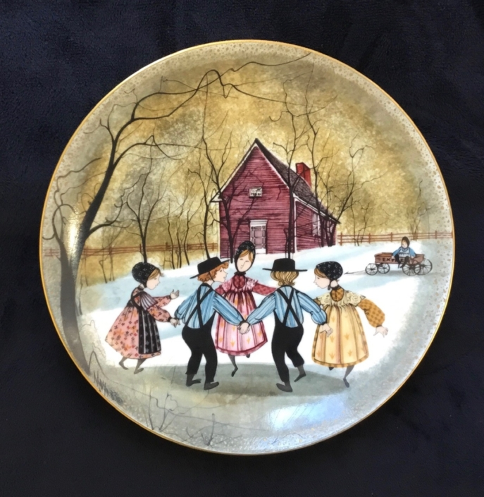 Ring Around The Rosie limited edition plate by P Buckley Moss. Early edition in mint condition with box and certificate.