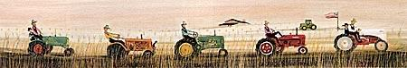 Tractors on Parade limited edition print by P Buckley Moss features different makes of popular tractors sold throughout the US. Colors are earth tones, reds, greens, peach and pinks.