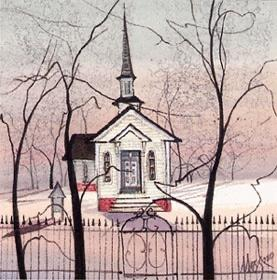 Woodland Church limited edition print by P Buckley Moss is a rare print in mint condition featuring a tiny church in the woods with colors of rose and pale greens, a touch of red and bold black trees.