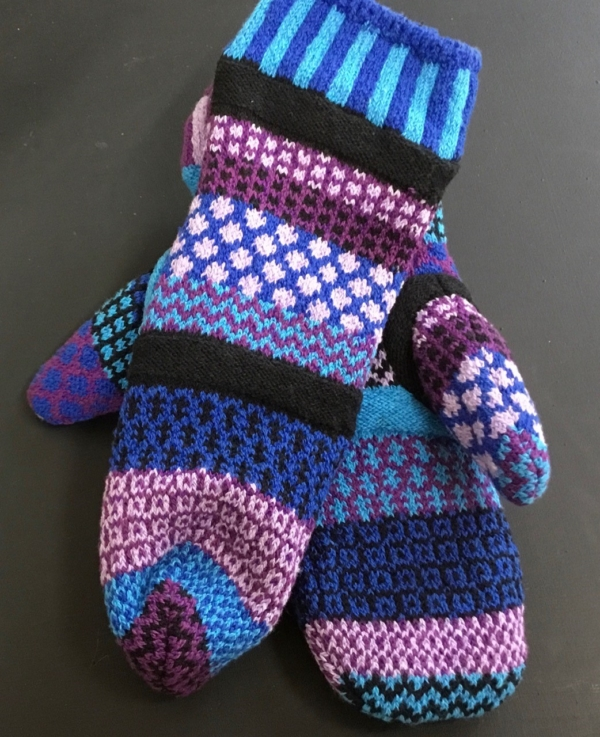 Solmate Raspberry Mittens feature blues, purples, pink, mauve and a bit of aqua.