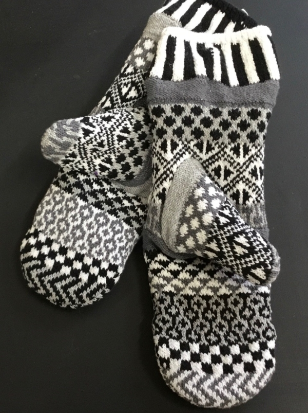 Midnight Solmate Mittens in black. gray and white.