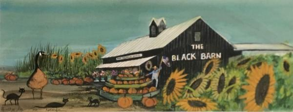 Remarqued art by P Buckley Moss of print of Our Black Barn. Added goose in rust.