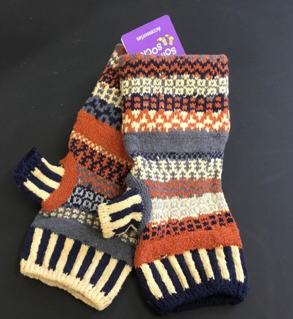 sunny Solmate Fingerless Mittens,a little missmatched for fun, bright Colors.