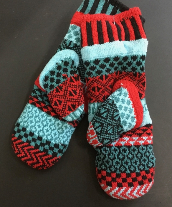 Solmate Mars Mittens are a combination of aqua blue, red and black.