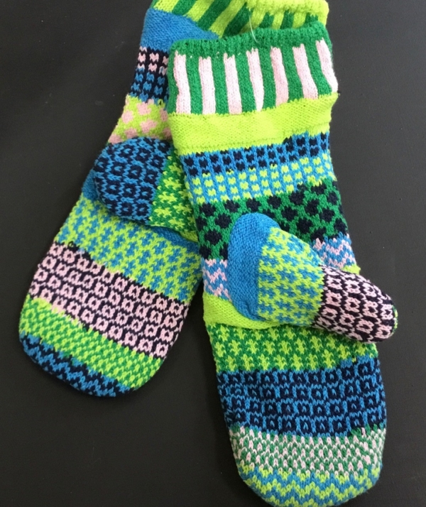 Solmate Water Lily Mittens in greens, pink, blue and rose.