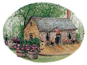The Mill House limited edition print by P Buckley Moss features the Occoquan Mill House show the Mill House Museum in Occoquan, Virginia.Soft colors of green, earth tones with pink and rose accents in the flowers.