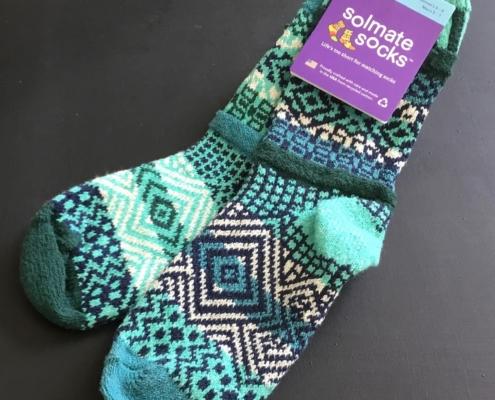 Solmate Evergreen Crew socks in aqua, navy, cream, teal & forest green.