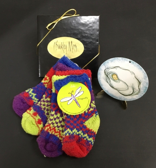 Solmate Dragonfly baby socks and P Buckley Moss Baby Boy Ornament