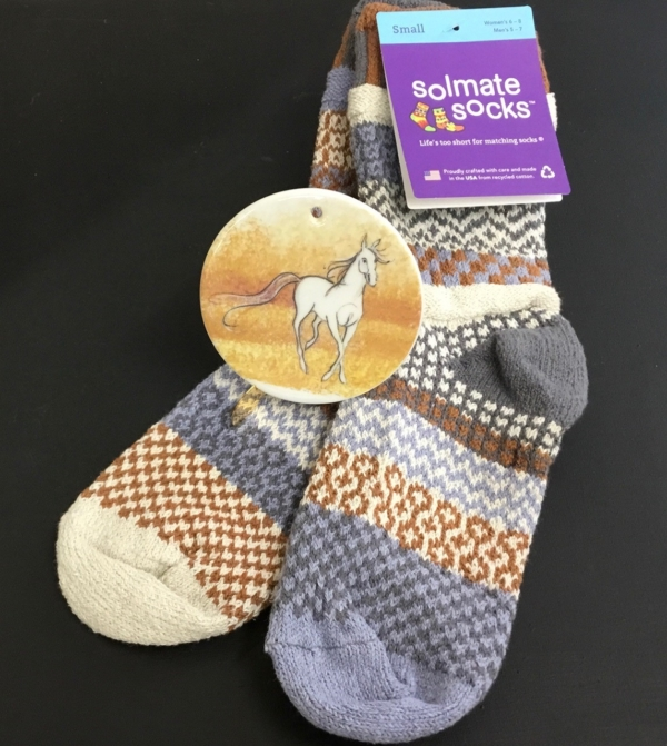 Solmate Foxtail Sock & P Buckley Moss Spirit Horse Ornament
