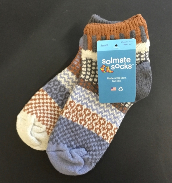 Foxtail Quarter socks by Solmate. Rust, gray and cream.