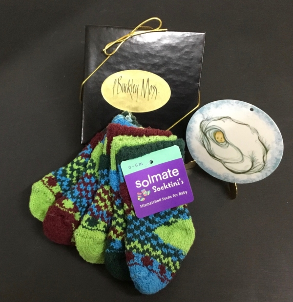 Solmate June Bug baby socks and P Buckley Moss Baby Boy Ornament