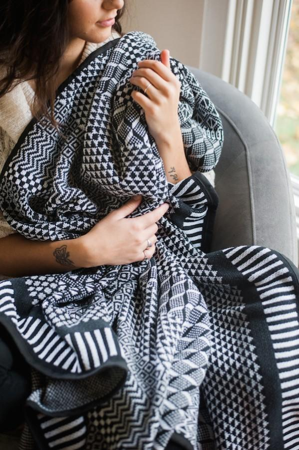 Solmate Midnight blanket in black and off white. Recycled Cotton and recycled rayon.