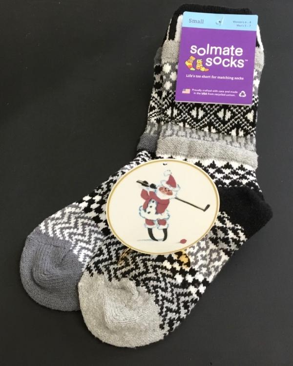 Solmate Midnight Sock & P Buckley Moss Golfing Santa Ornament