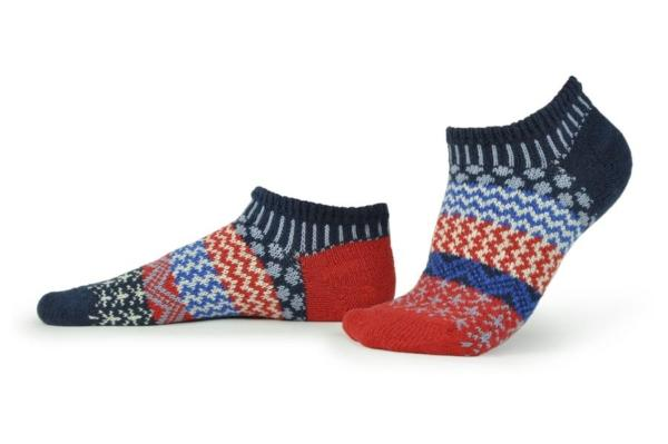 Solmate Stars and Stripes ankle socks in red, navy, white, periwinkle, cobalt colors. at Canada Goose Gallery in Waynesville, Ohio.