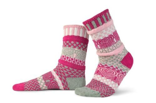 Solmate Cupid Crew Socks in light pink, magenta, gray, and white.