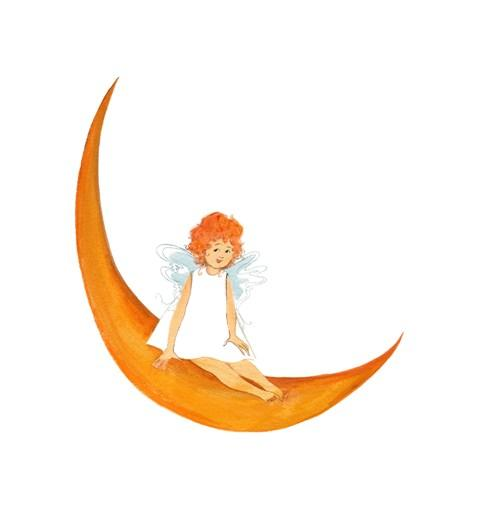 Angel on HIgh limited edition print by P Buckley moss features a red headed angel girl sitting on an orange moon.