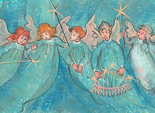 Glad Tidings limited edition print by P Buckley Moss features five angels dressed in similar green gowns.