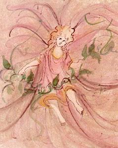 Ivy Angel limited edition print by P Buckley Moss features and angel figure dressed in mauves and pinks with green ivy around her.