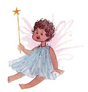 Little Angel limited edition print by P Buckley Moss features a little angel girl with transparent blue dress, light pink wings holding a gold star wand.