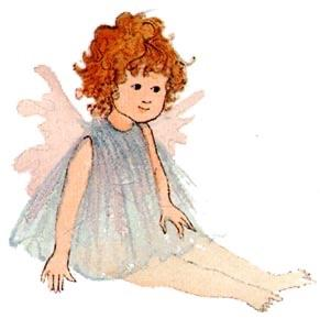 My Angel limited edition print features a little red haired angel with a transparent blue dress and creamy wings.