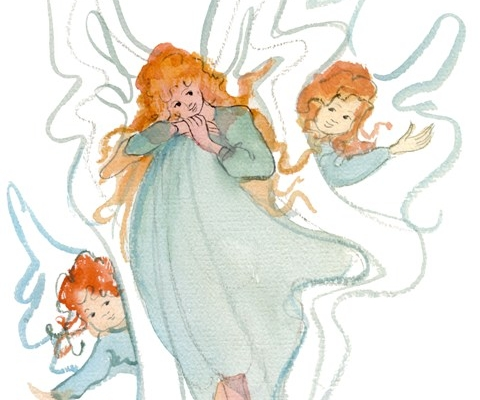Our Little Angels limited edition print by P Buckley Moss. Shades of light to medium green, orange and rust for hair.